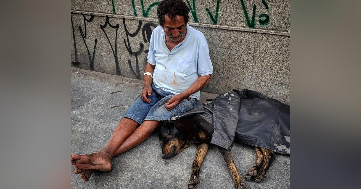 Morador de rua dá seu único agasalho para proteger cachorro do frio (SP)
