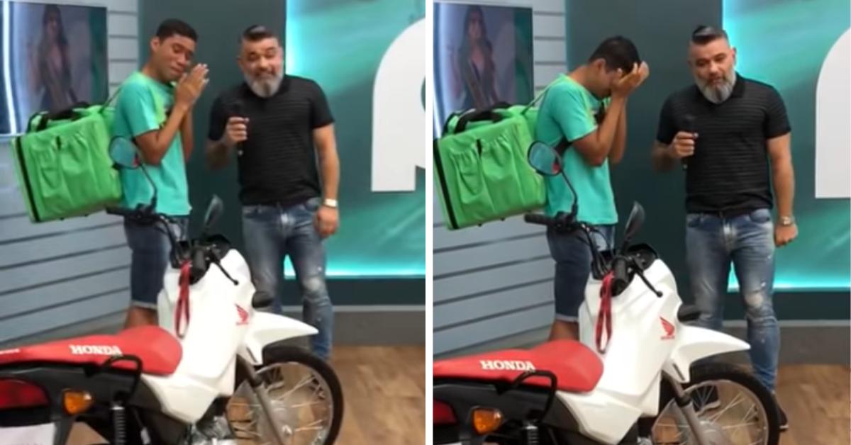 Após ser humilhado por miss, entregador ganha moto de presente 1