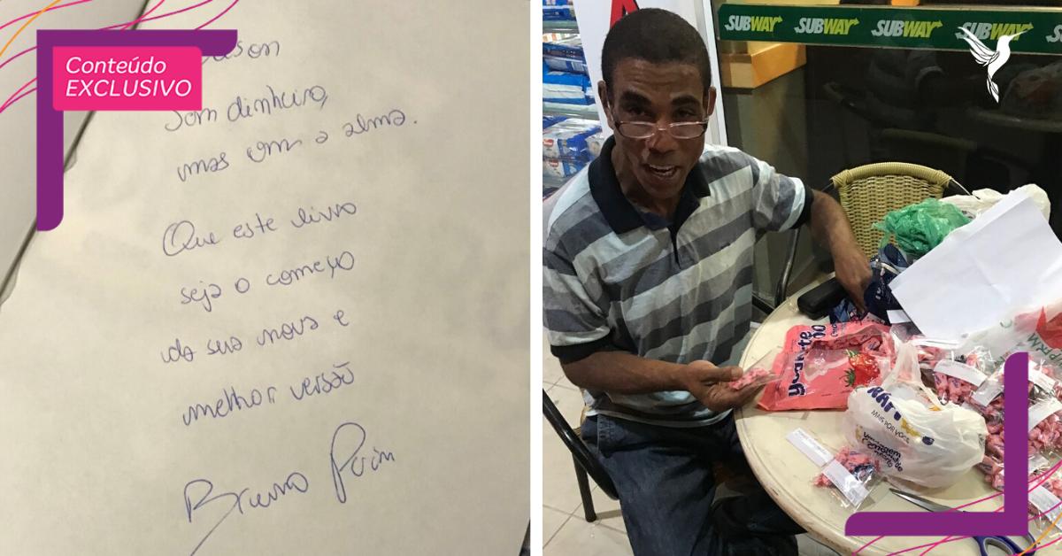 Após ganhar livro de negócios, morador de rua decide recomeçar com venda de balas personalizadas