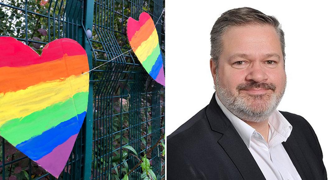 Alunos criam mural arco-íris apoiar professor gay alvo pixação homofóbica