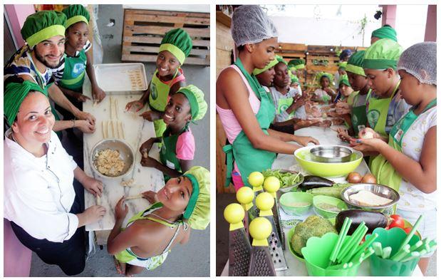 alunos na aula de reaproveitamento alimentar da Favela Orgânica