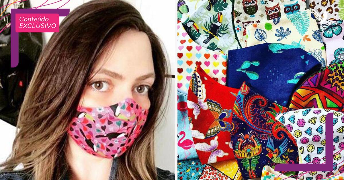 paciente câncer usando máscara proteção colorida