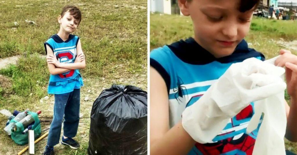 Dia das crianças se incomoda com lixo decide limpar bairro São Vicente