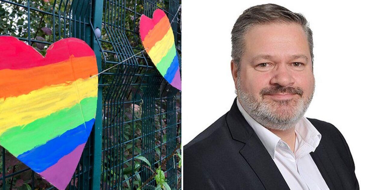 Alunos acolhem professor gay alvo de pixação homofóbica com corações de arco-íris 3