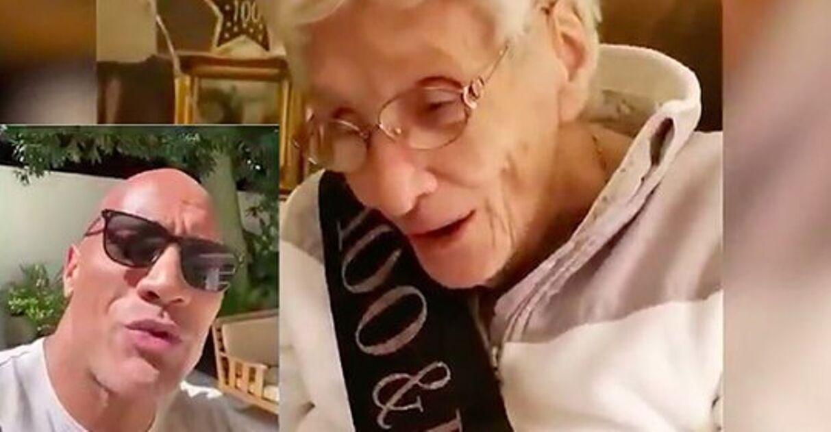 The Rock faz surpresa e canta parabéns pra vovozinha no seu aniversário de 100 anos 2