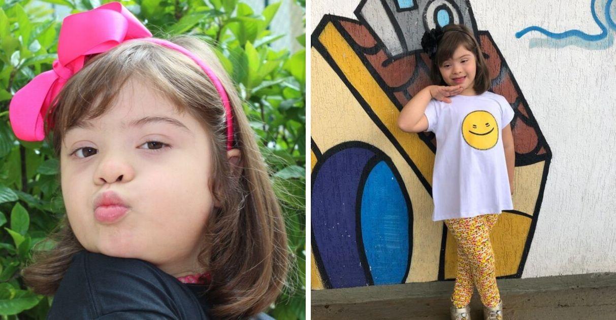 Empreendedora criança síndrome de Down coleção moda inclusiva