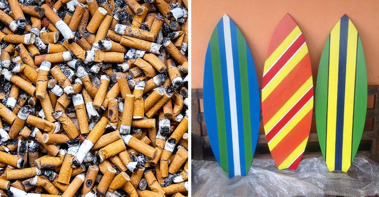 Bar São Paulo bitucas de cigarro em pranchas de surfe