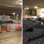 Voluntários convertem estacionamento em espaço para sem-teto dormirem todas as noites 2