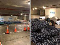 Voluntários convertem estacionamento em espaço para sem-teto dormirem todas as noites 12