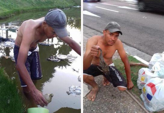 Ex-morador de rua troca polimento de faróis por doação de leite para ONGs 2