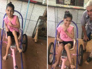 """Avô cria bicicleta especial para neta com paralisia cerebral: """"sonho dela"""" 1"""