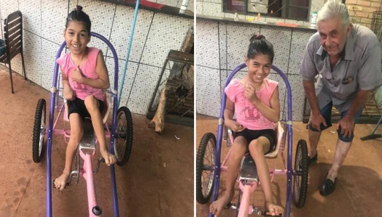 """Avô cria bicicleta especial para neta com paralisia cerebral: """"sonho dela"""" 2"""
