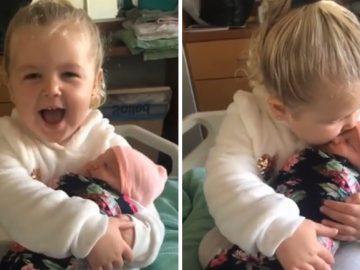 Em vídeo, menina de 3 anos se derrete de amor por sua irmã recém-nascida 11
