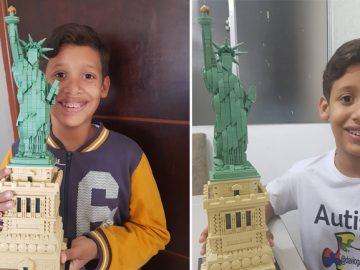 Autista brasileiro monta réplica da Estátua da Liberdade com 1685 peças de Lego! 1