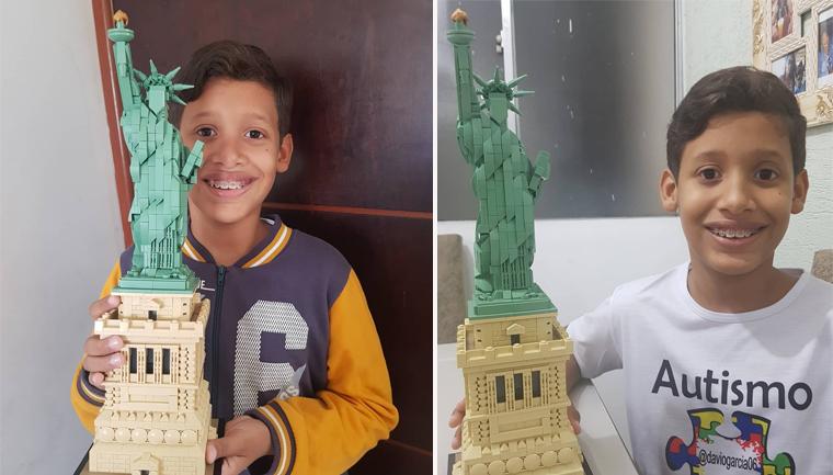 Autista brasileiro monta réplica da Estátua da Liberdade com 1685 peças de Lego! 2