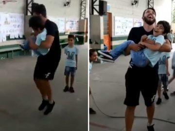 Professor pula corda com aluno cadeirante no colo e vídeo viraliza; assista! 2