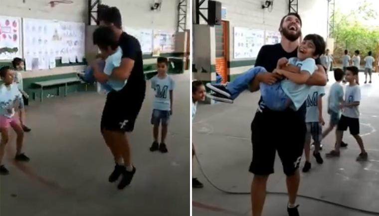 Professor pula corda com aluno cadeirante no colo e vídeo viraliza; assista! 1