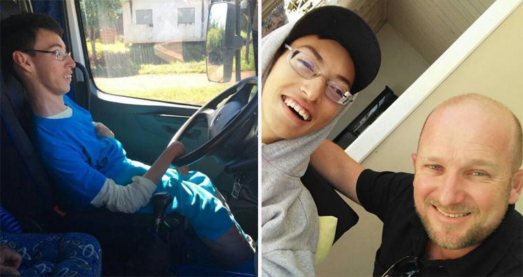 Caminhoneiros levam para passear garoto com paralisia cerebral amante de caminhões 1
