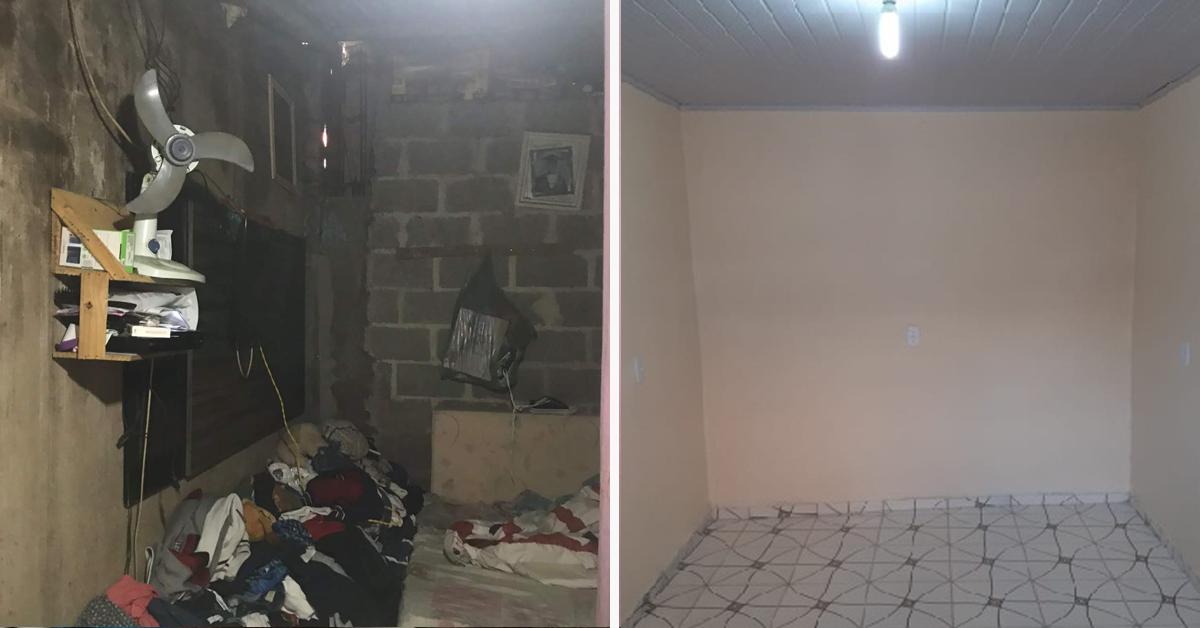 """Família que mora em um cômodo ganha reforma e comemora: """"melhorou muito, 100%"""" 1"""