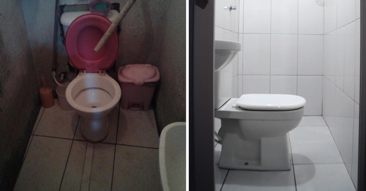 Registros de banheiro antes e depois da reforma do Vivenda
