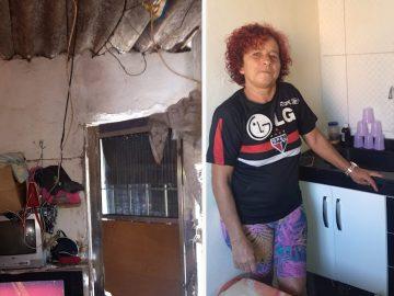 Registro da casa de Maria Aparecida antes e depois da reforma do Vivenda, que a tirou da depressão