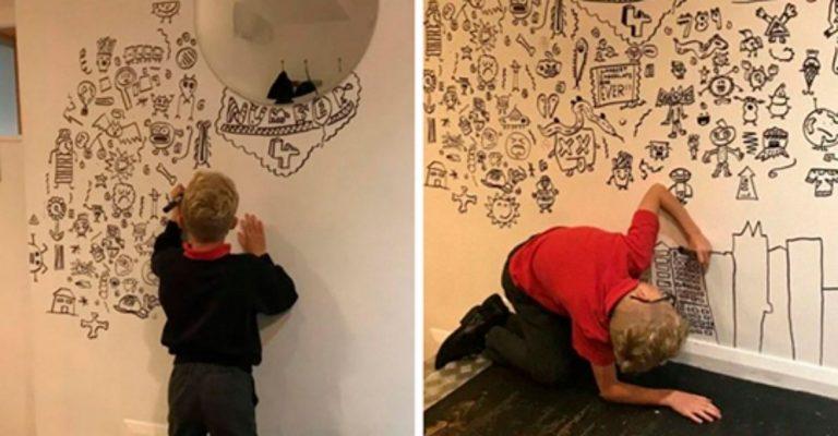 Menino criticado por 'rabiscar' cadernos hoje decora restaurante com seus desenhos 1