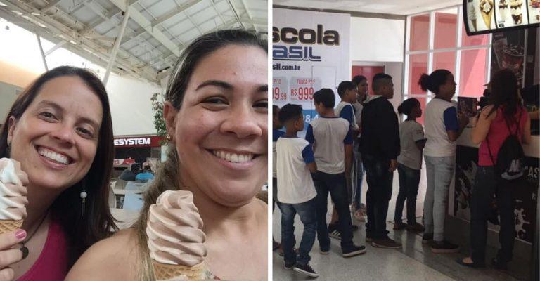Anônimo compra 38 sorvetes para crianças e professoras em shopping do RJ 1