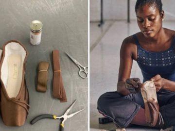 Bailarina negra sapatilhas da cor de sua pele