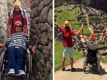 Turista argentino ajuda amigo com deficiência Machu Picchu