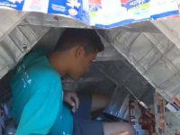 Estudantes abrigos moradores de rua caixas de leite