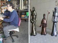 Artesão transforma garrafas PET que seriam descartadas em obras de arte 7