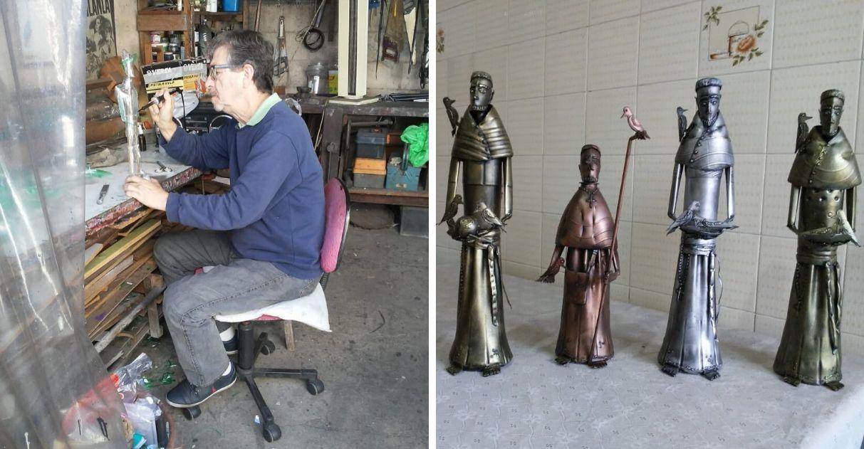 Artesão transforma garrafas PET que seriam descartadas em obras de arte 3