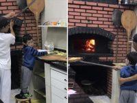 Pizzaria ensina garoto que estava chorando a fazer pizza para acalmá-lo 11