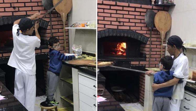 Pizzaria ensina garoto que estava chorando a fazer pizza para acalmá-lo 2