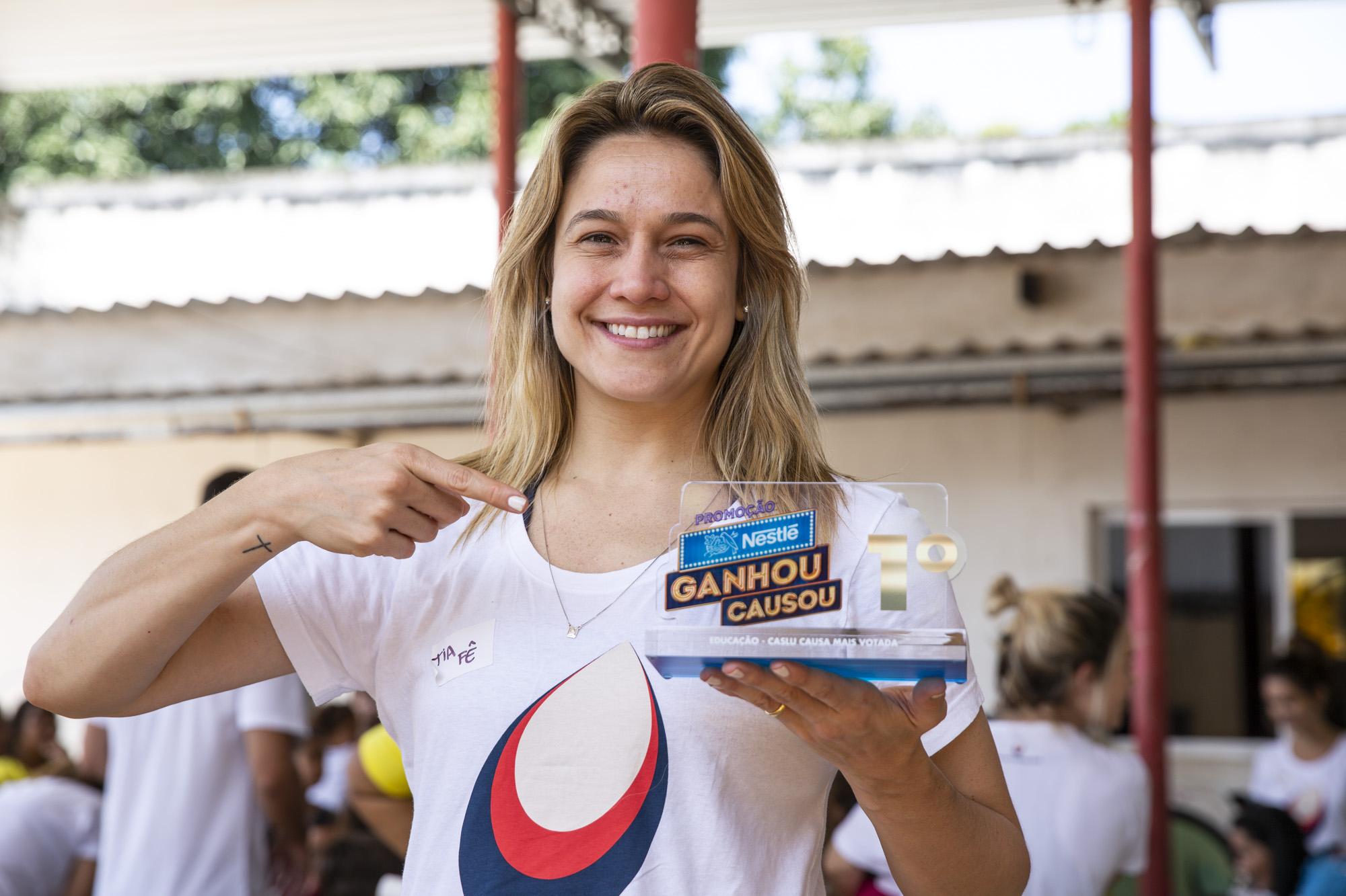 Causa da Educação, representada por Fernanda Gentil,é a grande vencedora da promoçãoGanhou, Causouda Nestlé 1