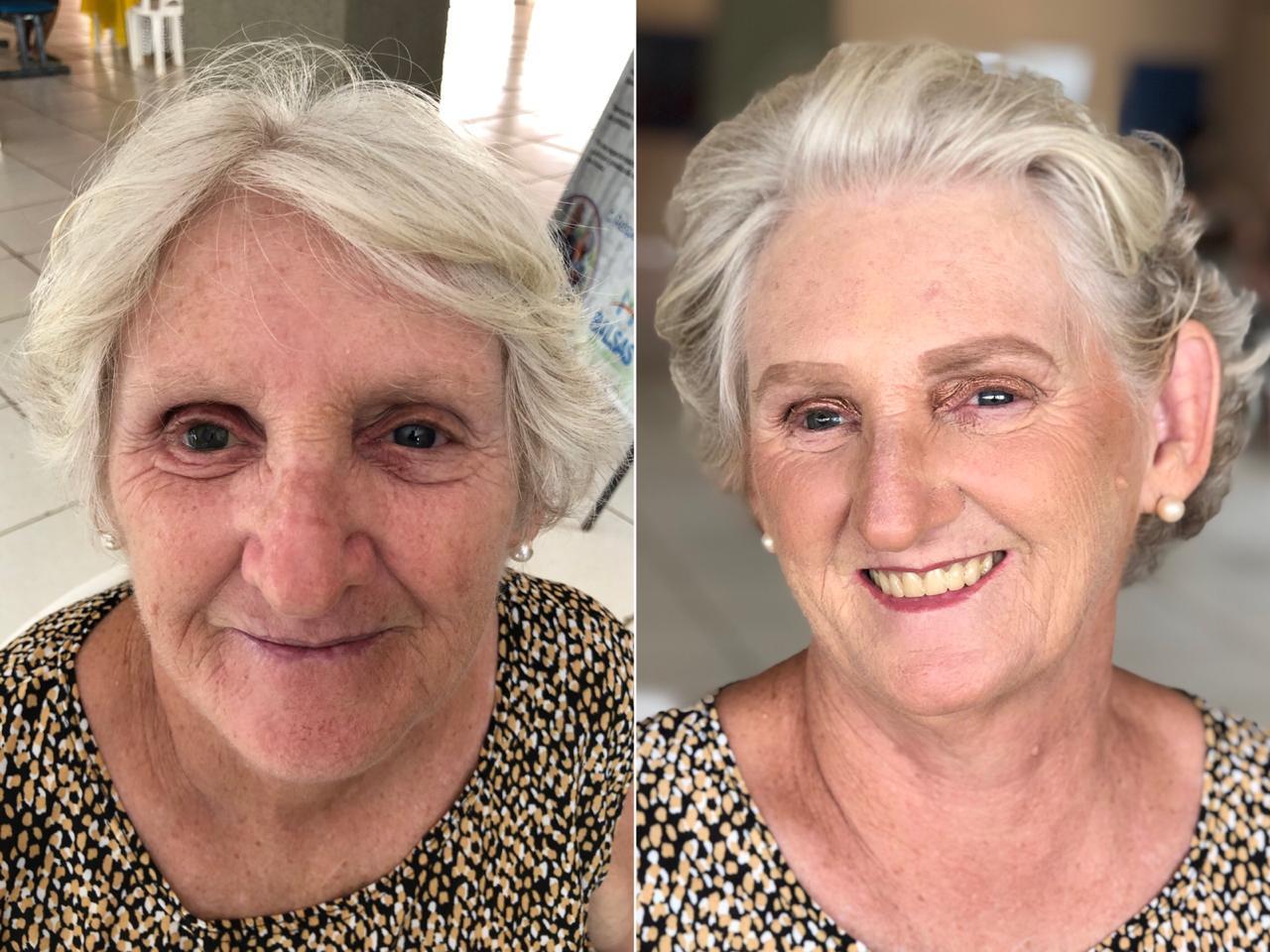 antes e depois de idosa que participou do dia de beleza em Balsas