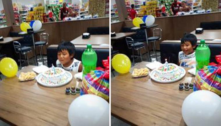 Funcionários de supermercado fazem aniversário surpresa para 'indiozinho' em SC 1