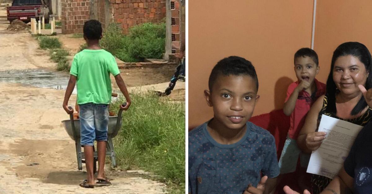 Após vaquinha, menino que vende tamboretes compra casa para família