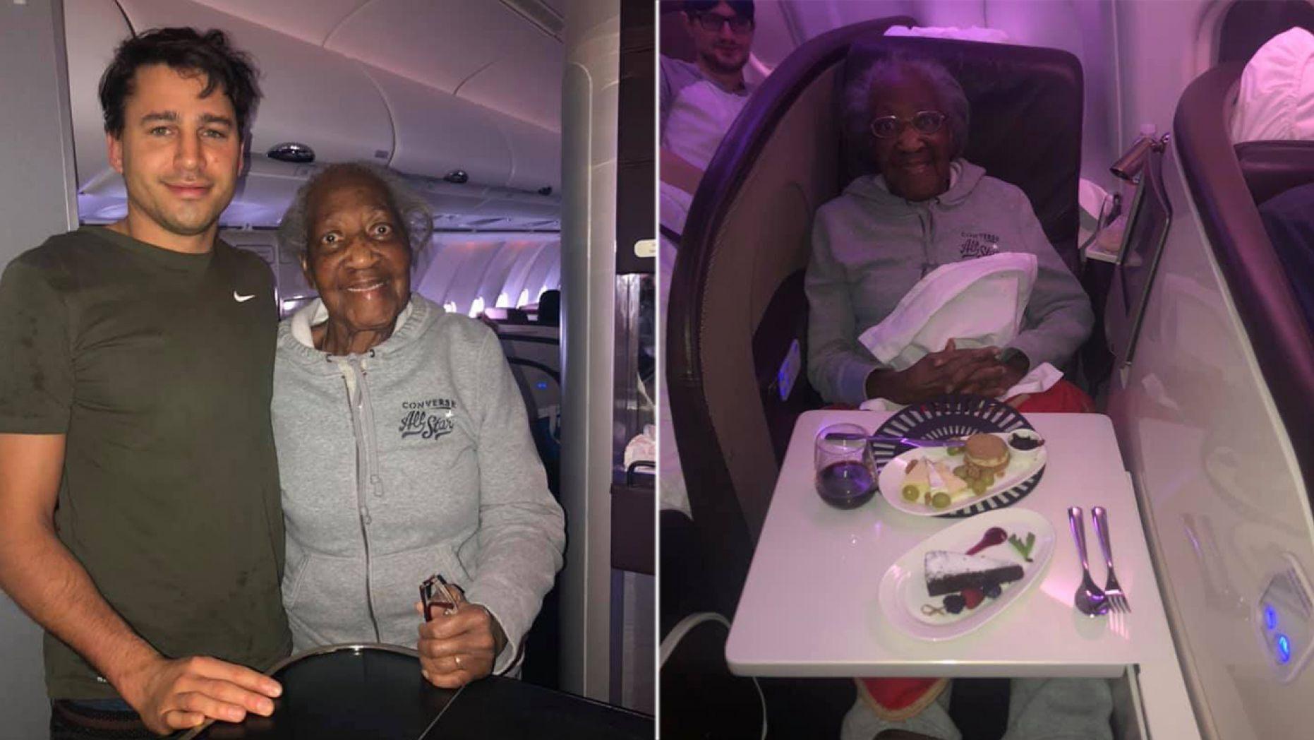 passageiro avião cede assento idosa voo