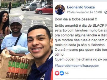 Jovem aproveita Black Friday para alimentar desabrigados no Guarujá (SP) 1