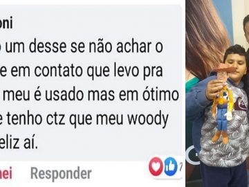 estranho doa boneco woody para menino autista