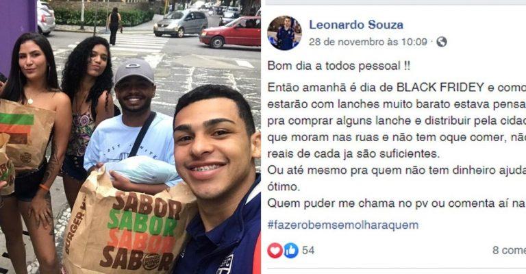 Jovem aproveita Black Friday para alimentar desabrigados no Guarujá (SP) 1
