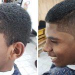 jovem pezinho cabelo ganha corte gratuito