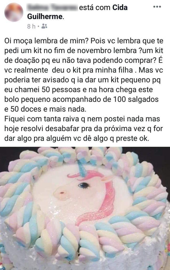 print da confeiteira humilhada por doar bolo pequeno