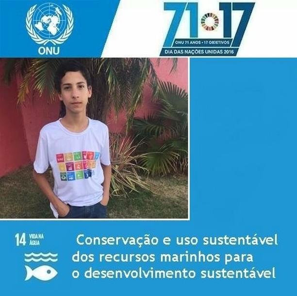 jovem de Anápolis em card da ONU