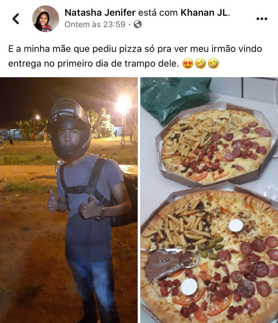 print de publicação de irmã de entregador de pizza