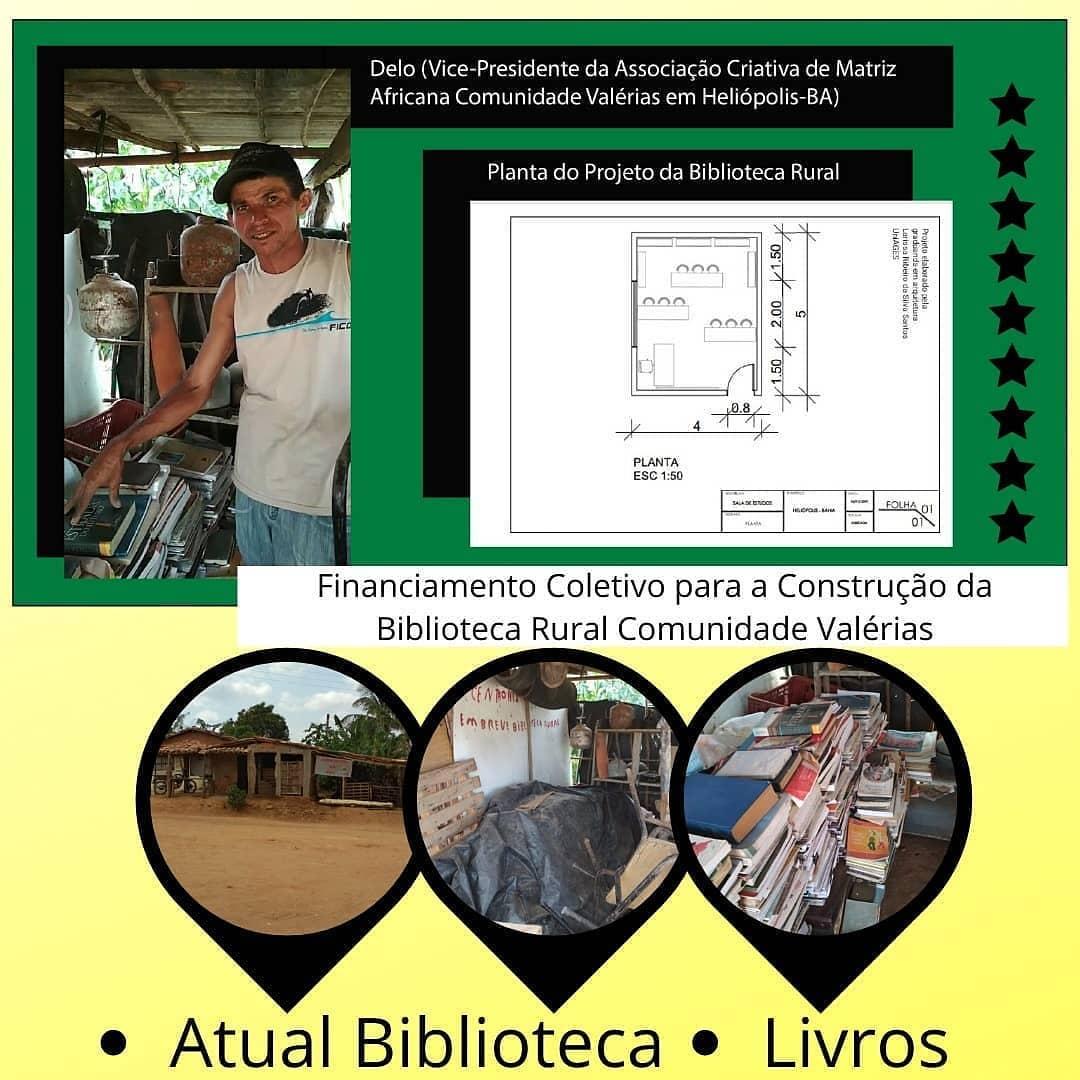planta do projeto da biblioteca rural no interior da Bahia