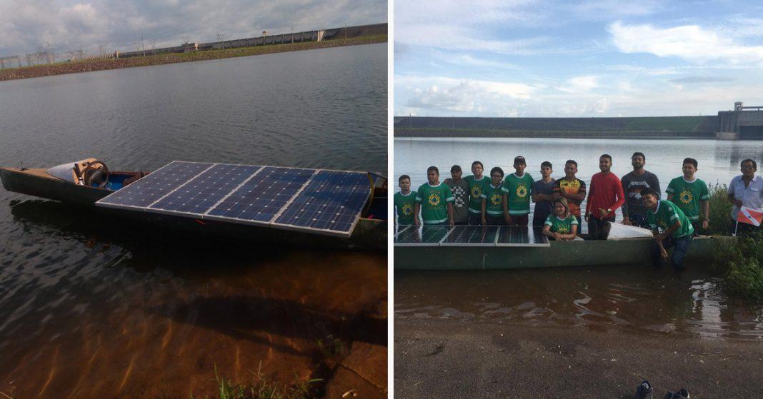 Barco movido a energia solar e equipe desenvolvedora