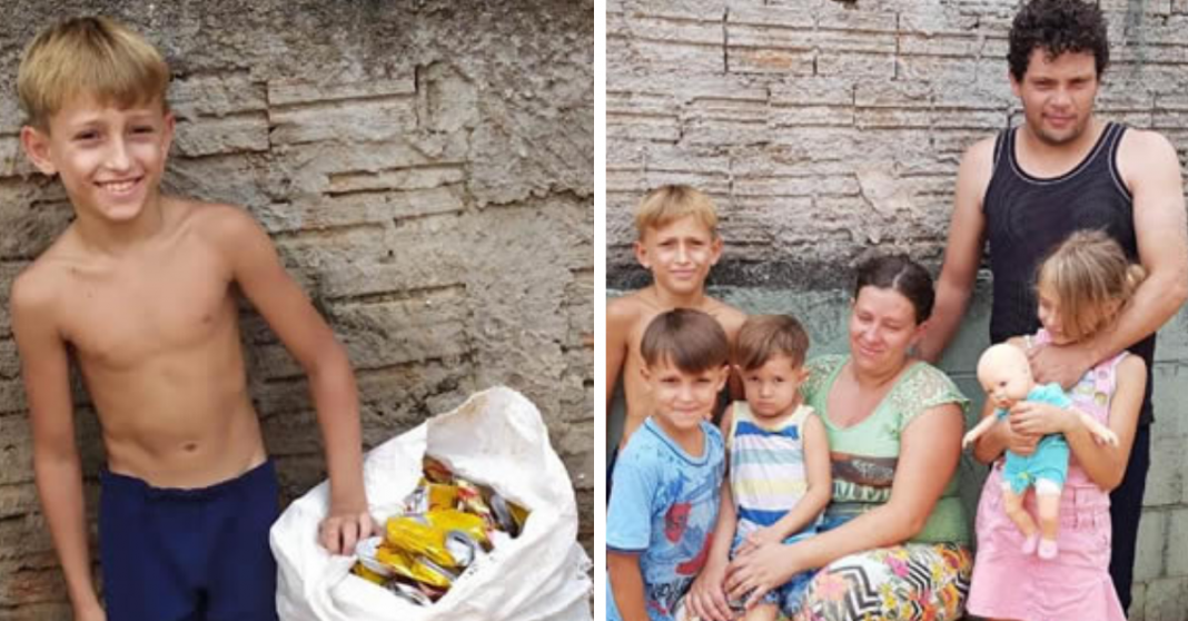 Após fugir de casa para juntar latinhas e ajudar família, menino recebe ajuda de internautas