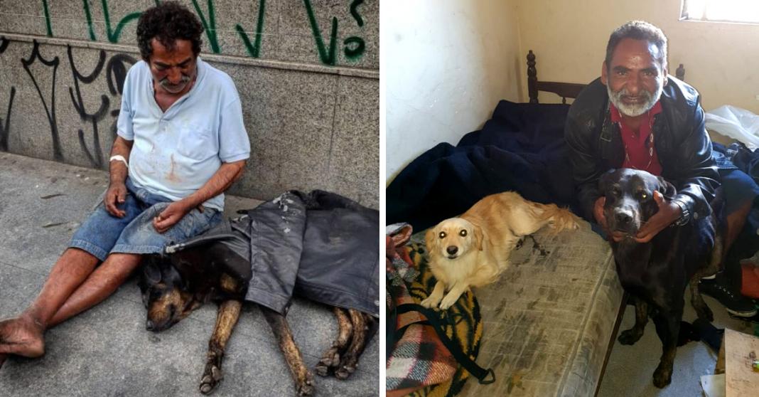 Após vaquinha do Razões, homem em situação de rua e seu cão conseguem moradia